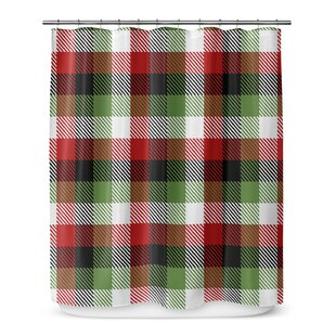 Christmas Plaid Single Shower Curtain + Hooks