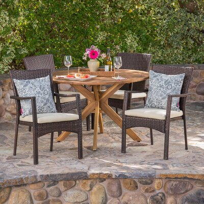 Towler 5 Piece Dining Set With Cushions by Ebern Designs Fresh