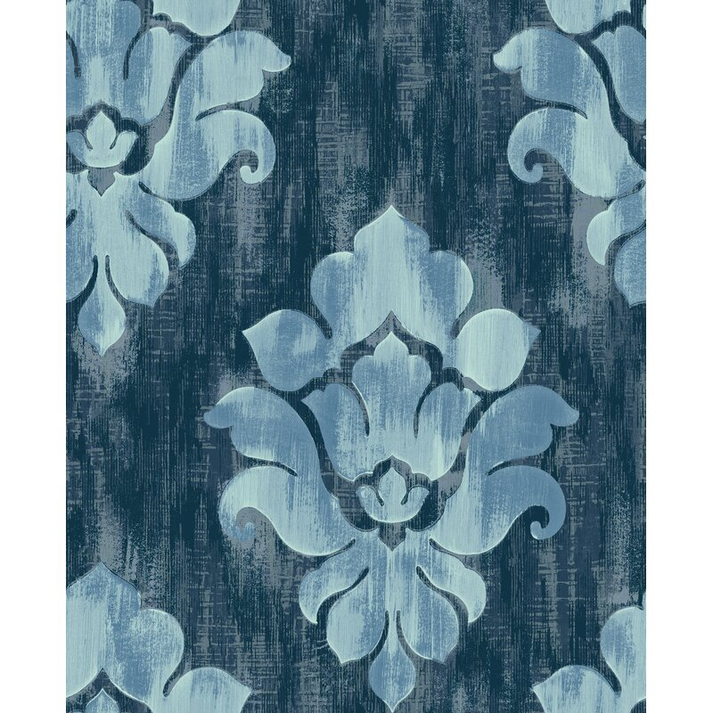 "20.5/"" x 396/"" Roll 56 sq ft Wallpaper Blue Damask Metallic Traditional Deco"
