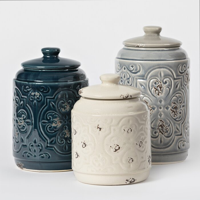 Rustic Quilted 3 Piece Kitchen Canister Set