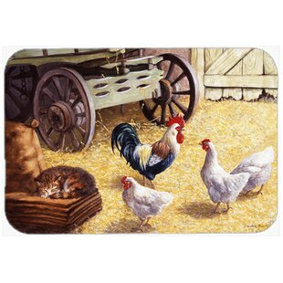 Rooster and Hens in the Barn Glass Cutting Board