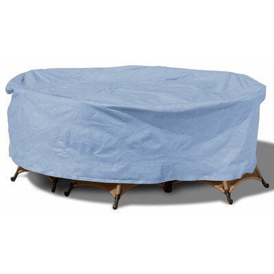 Freeport Park Aaden Round Patio Table and Chairs Combo Cover Color: Blue, Size: 60 W x 88 D, Material: Polyester
