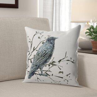 Vesuvio Black Bird Throw Pillow