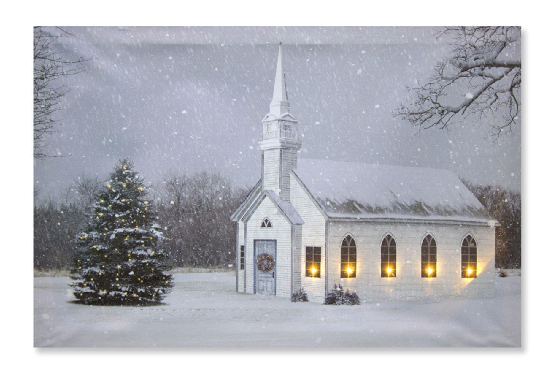 The Holiday Aisle Church And Tree Led Canvas 23 75 L X 15 75 H Wood Canvas Wayfair