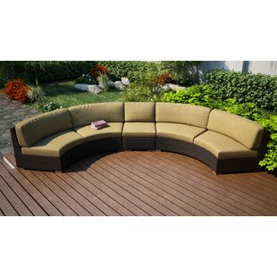 Harmonia Living Arden Extended Curved Patio Sectional with Cushions