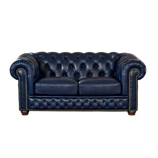 Forsyth Leather Chesterfield Loveseat