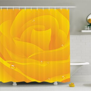 Reviews Huge Romantic Flower Rose About to Open Itself with Rain Drops on Artwork Shower Curtain Set ByAmbesonne