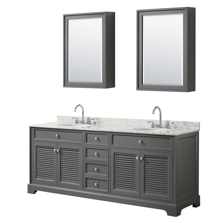 Wyndham Collection Tamara Wall Mounted Storage Cabinet In Dark Gray