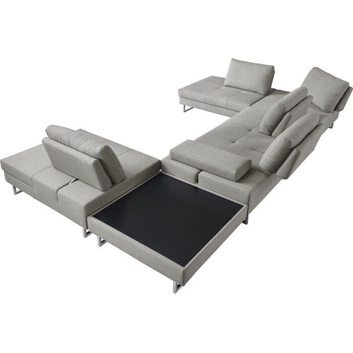 Wensley Modern Fabric Sectional Sofa 4 Piece Living Room Set