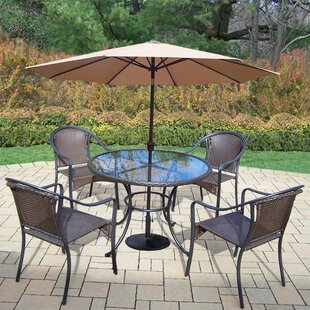 Darby Home Co Parishville 5 Piece Durable All Weather Resin Wicker Dining Set with Umbrella