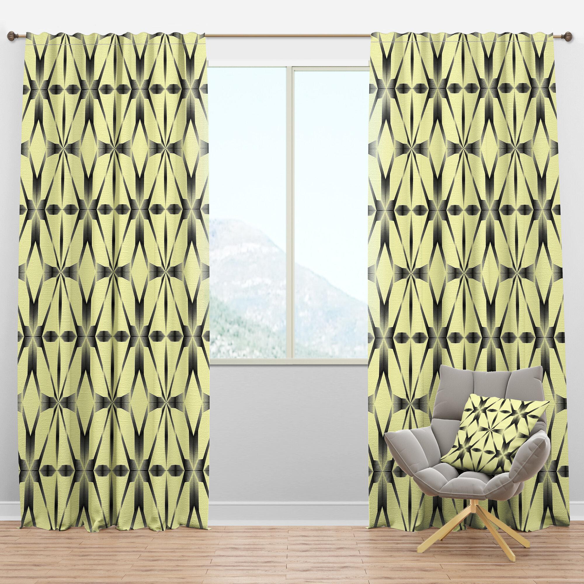 Designart Mid Century Oriental Ornament Geometric Semi Sheer Thermal Rod Pocket Curtain Panels Wayfair