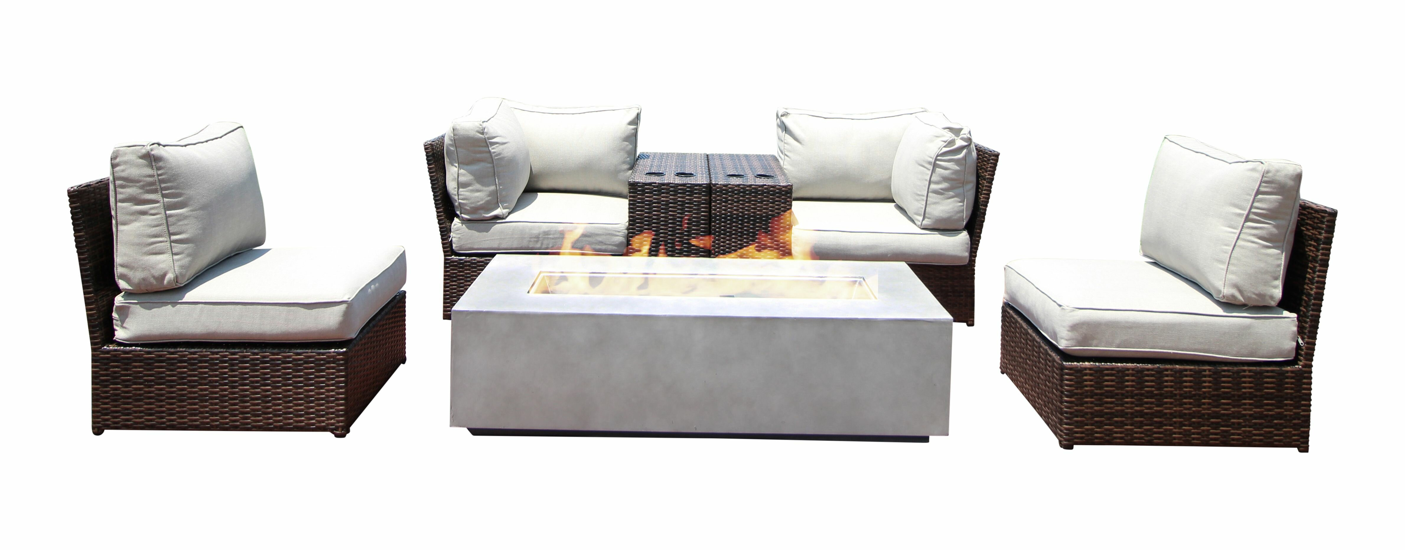 Picture of: Orren Ellis Vasil 7 Piece Sectional Seating Group With Cushions Wayfair