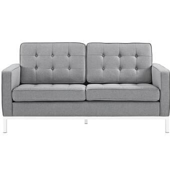 Latitude Run Awen Plush Tufted 55 Recessed Arms Sofa Wayfair