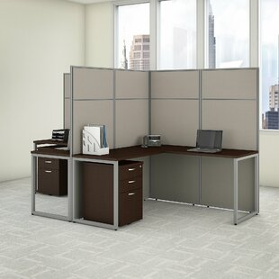 Easy Office 2 Person L Shaped Cubicle Desk with Drawers and Panels