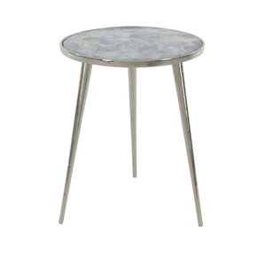 Stogner Modern Aluminum And Galvanized Agate Round End Table (Set Of 2)
