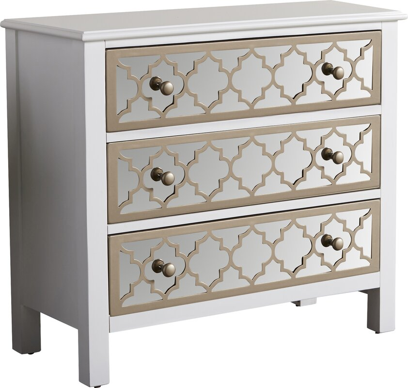fernwood 3 drawer overlay mirrored accent chest