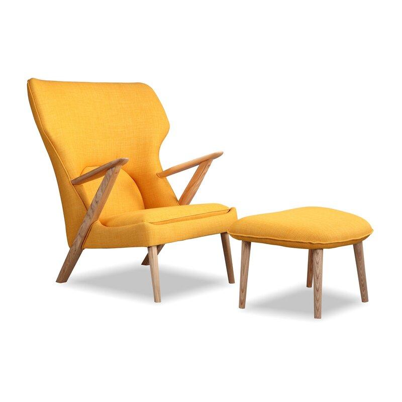 Default nameKardiel Cub Mid Century Modern Lounge Chair and Ottoman   Wayfair. Modern Yellow Lounge Chair. Home Design Ideas
