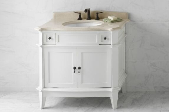 Ronbow Bordeaux 37 Single Bathroom Vanity Top In Cream Beige Marble Wayfair