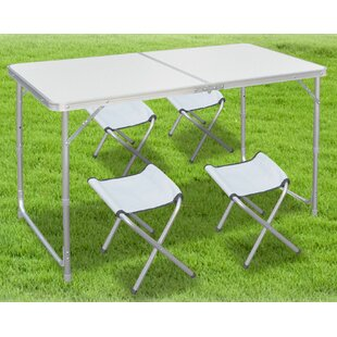 Alemany Folding Camping 5 Piece Dining Set