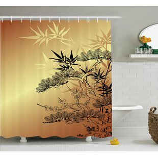 Raya Japanese Asian Branches and Bamboo Motifs With Showy Leaf Nature Illustration Art Single Shower Curtain