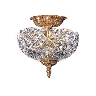 Aureolin Lead Crystal 2-Light Semi Flush Mount by House of Hampton