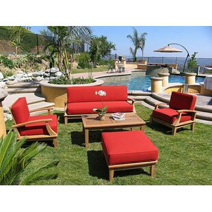 Brayden Studio Yandell 5 Piece Teak Sofa Set with Sunbrella Cushions