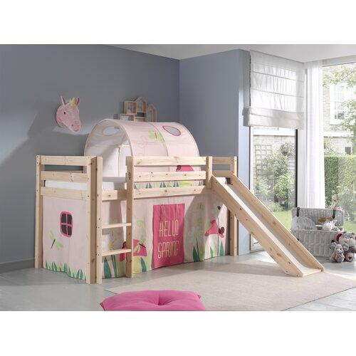 Halbhochbett Pino Spring mit Rutsche und Textil-Set  90 x 200 cm | Kinderzimmer > Kinderbetten | Beige | Massiver - Kiefer - Baumwolle - Holz | Vipack