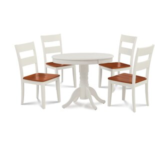 Hopson 5 Piece Solid Wood Dining Set August Grove