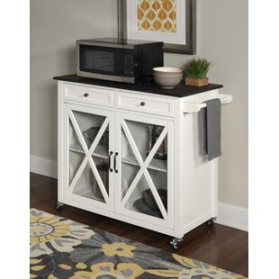 Gemma Two Door Kitchen Cart with Granite Top Gracie Oaks