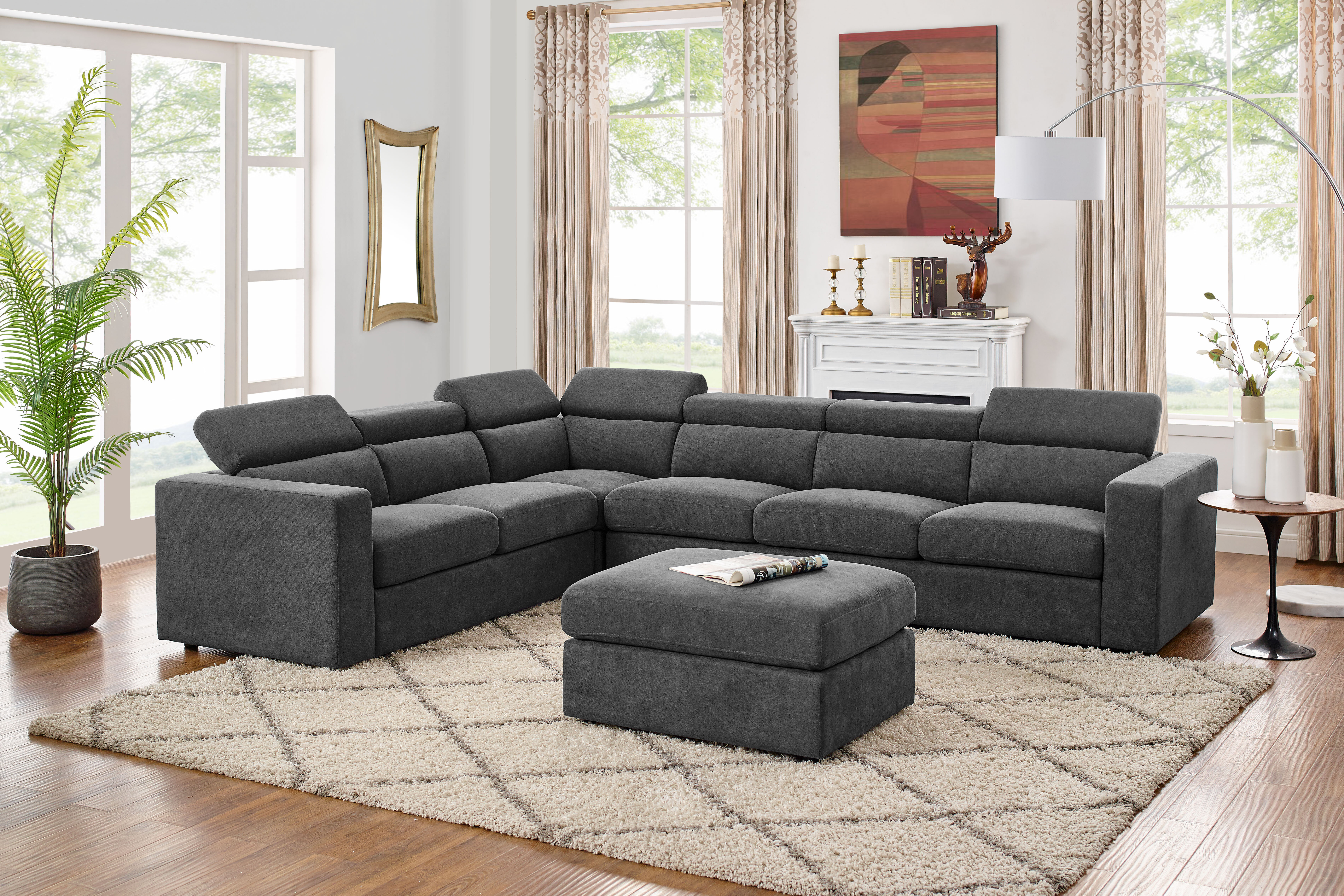 Fowlerville 5Seater Right Hand Facing Sectional Sofa With Ottoman