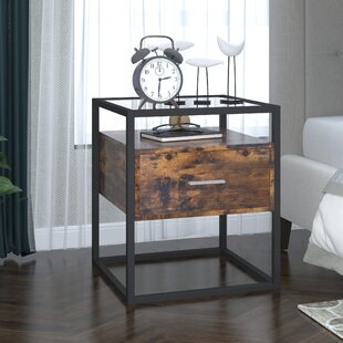 Kinloch 1  Drawer Metal Nightstand in Brown