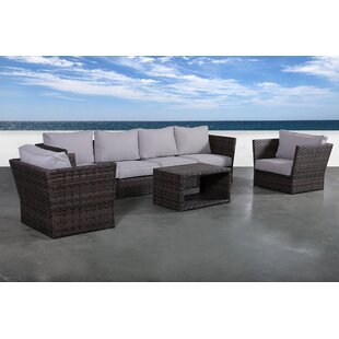 Cochran 7 Piece Rattan Sectional Seating Group With Cushions By Rosecliff Heights