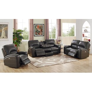 Red Barrel Studio Woodhull Reclining Leather 3 Piece Living Room Set