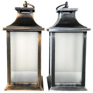 Rustic Plastic 15 Light LED Outdoor Hanging Lantern (Set of 2)