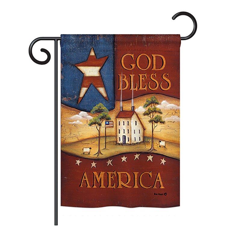 Breeze Decor God Bless America Americana Everyday Patriotic Impressions 2 Sided Burlap 19 X 13 In Garden Flag Wayfair