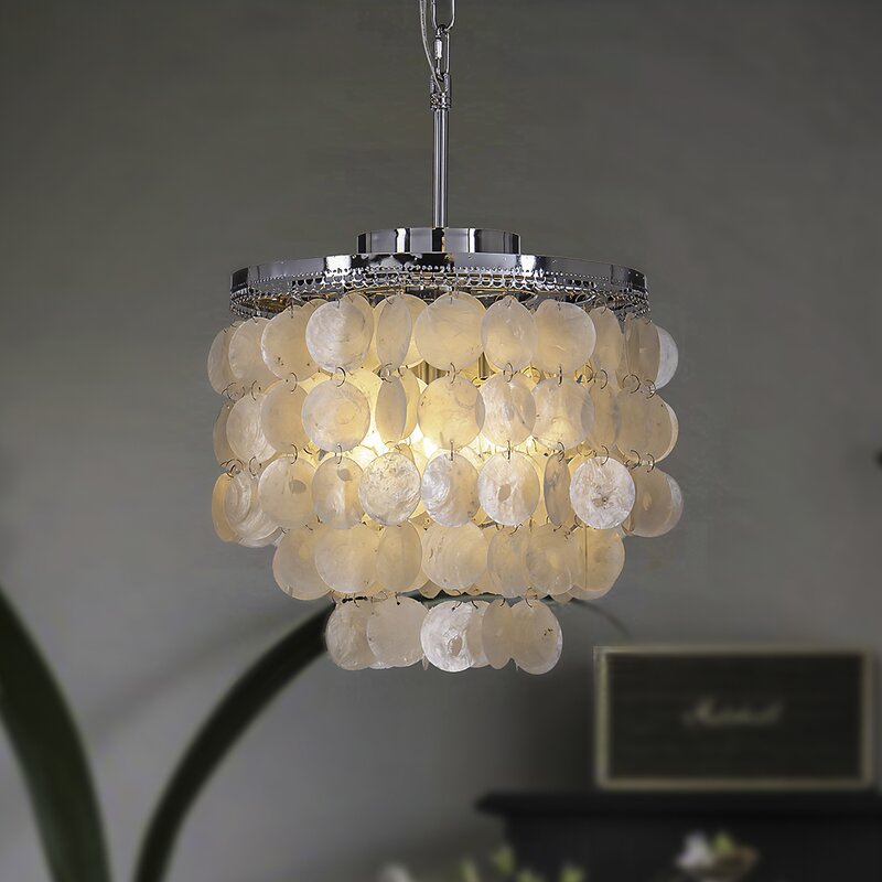 Highland Dunes Dickison 3 Light Unique Tiered Chandelier With Seashell Accents Reviews Wayfair