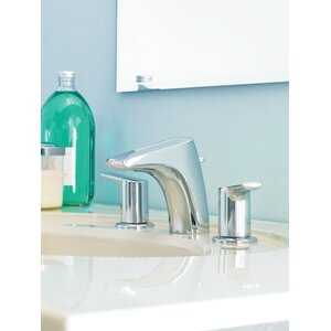 Method Double Handle Widespread Low Arc Bathroom Faucet with Optional Pop-Up Drain