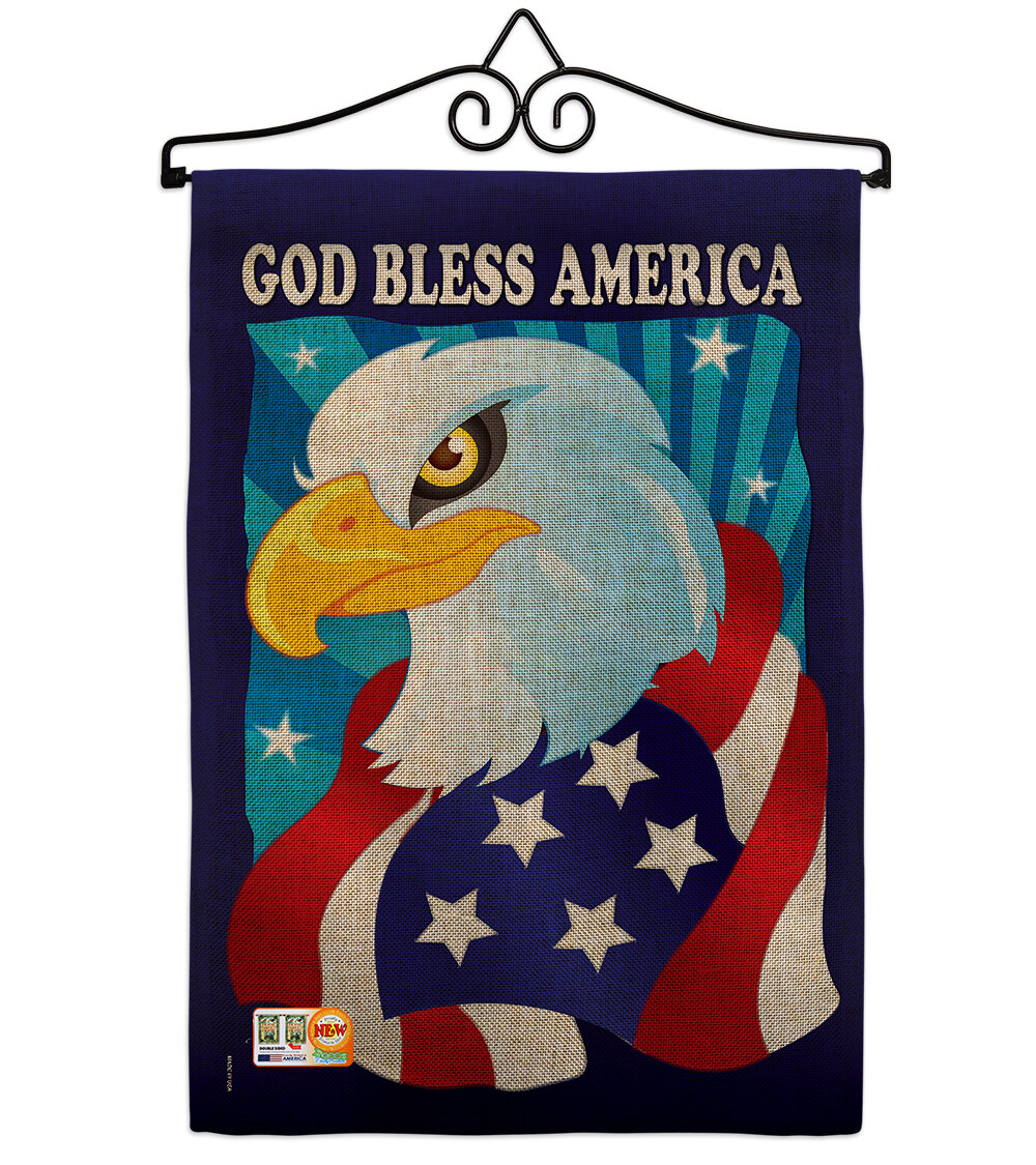 Breeze Decor Freedom Eagle American Patriotic 2 Sided Burlap 19 X 13 In Garden Flag Wayfair