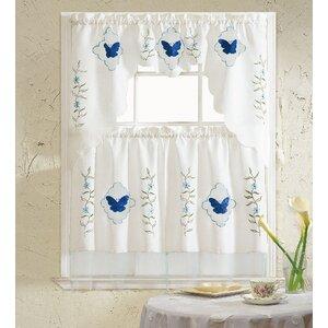 Butterfly Blue 3 Piece Kitchen Curtain Set