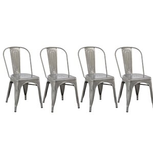 Industrial Metal Bistro Stackable Cafe Side Chair (Set of 4) by Famis Corp