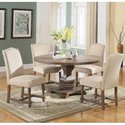 Arielle 5 Piece Round Dining Set Upholstery Color: Tan by Alcott Hill