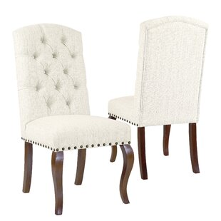 Crepeau Stain Resistant Texutred Back Upholstered Dining Chair Natural (Set of 2)