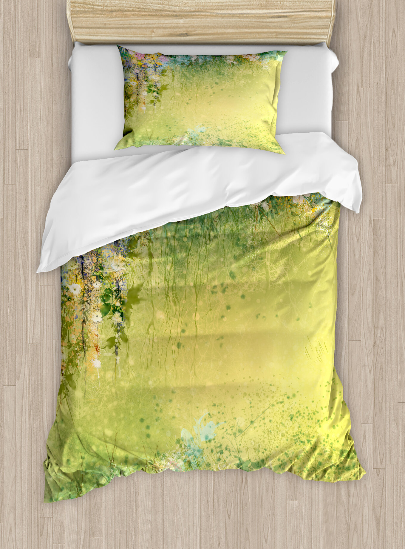 Ambesonne Watercolor Flower Home Spring Foliage With Leaves Hand Drawn Aesthetic Inspiring Picture Duvet Cover Set Wayfair
