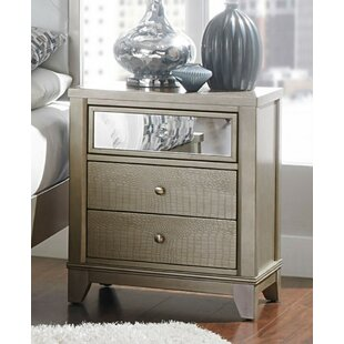 Luellen Mirror Accented Wooden 3 Drawer Nightstand by Rosdorf Park