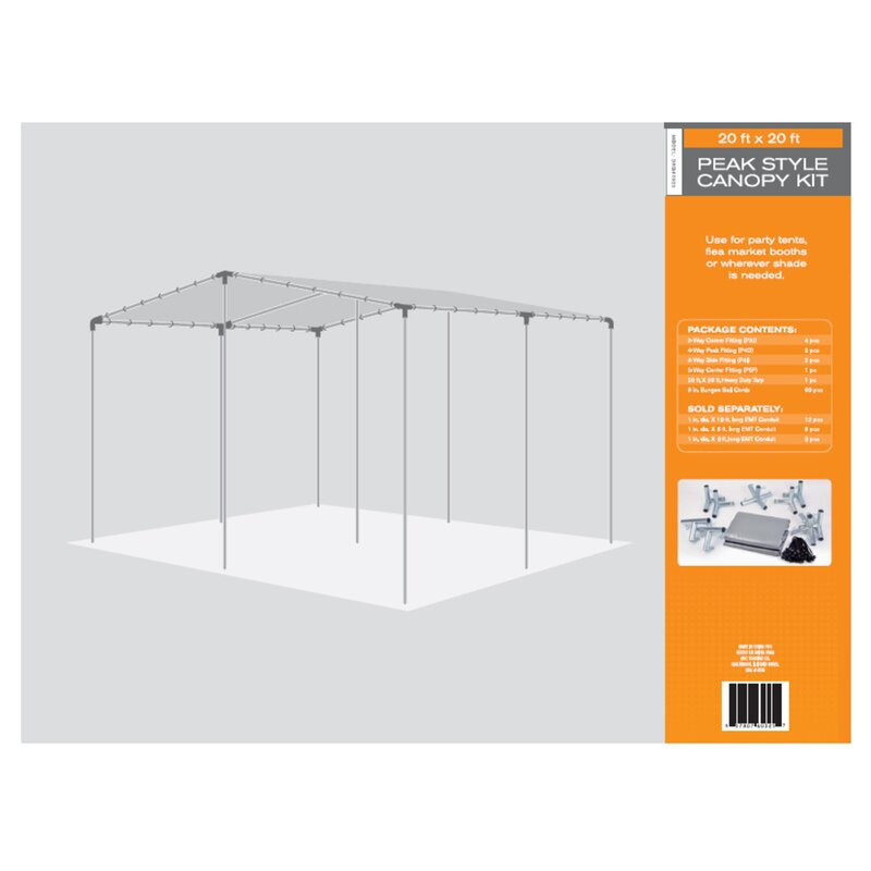 """AHC Heavy Duty Carport Canopy Roof  Size: 240"""" H x 240"""" W x 9.5"""" D"""