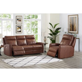 Amasia 2 Piece Leather Reclining Living Room Set by Winston Porter SKU:EC529016 Description