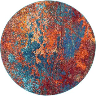 Celestial Blue/Red/Orange Rug by Longweave