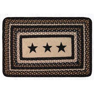 Bargain Black Stars  Printed Area Rug ByEarth Rugs