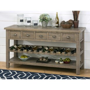 Gracie Oaks Lovella Wooden Wine Rack Buffet Table