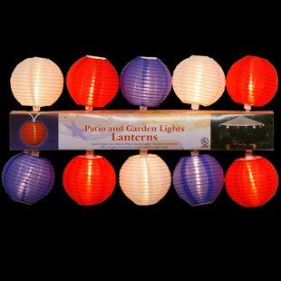 Penn Distributing 10 Light Patriotic Patio/Garden Lantern Set